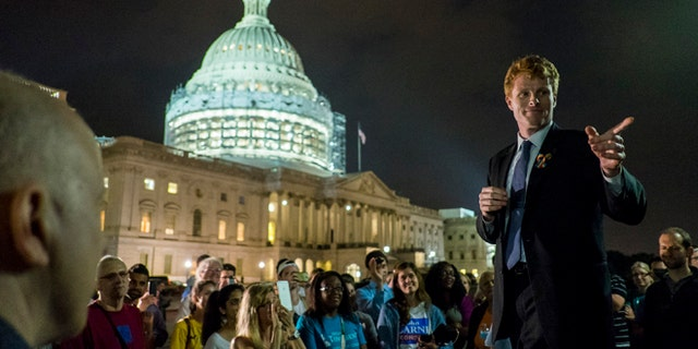 WASHINGTON, DC - June 23:  Rep. Joe Kennedy III (D-MA) speaks to supporters of House Democrats taking part in a sit-in on the House Chamber outside the U.S. Capitol on June 23, 2016 in Washington, DC. House Republicans attempted to end the 16-hour sit-in by Democrats early Thursday morning by adjourning for a recess through July 5.  (Photo by Pete Marovich/Getty Images)