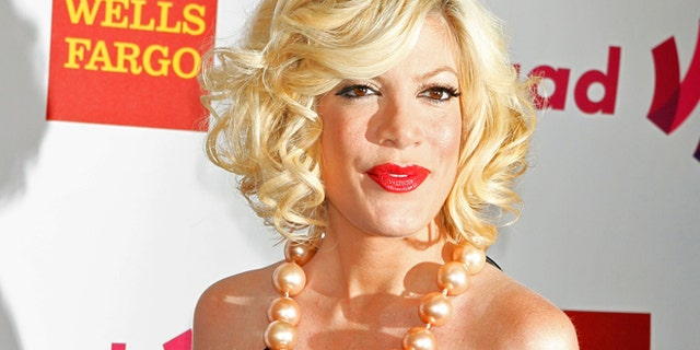 Actress Tori Spelling arrives at the 22nd annual Gay and Lesbian Alliance Against Defamation (GLAAD) Media Awards in Los Angeles, California April 10, 2011.