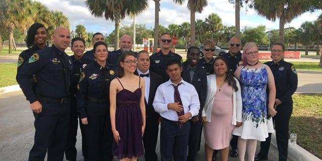 Boynton Beach police officers attended prom with several John I. Leonard High students on Saturday. (Boynton Beach Police Department)