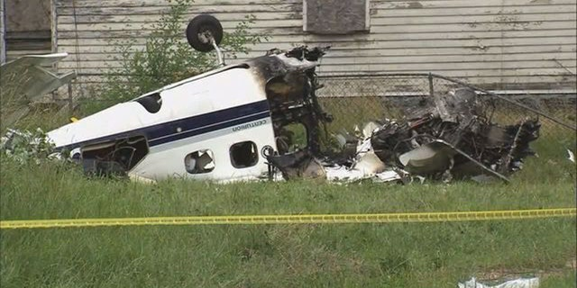 Investigators say the plane ran out of fuel, hit two trees and a power line, and then exploded into flames.