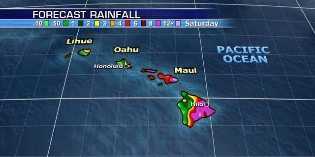 The forecast for rain through Saturday across Hawaii from Hurricane Lane.