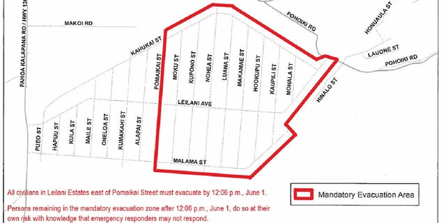 A map shows the mandatory evacuation area covering a portion of the Leilani Estates development on Hawaii's Big Island.