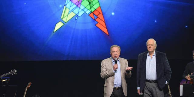 """FILE - In this April 4, 2014 file photo, composer Andrew Lloyd Webber, left, and lyricist Tim Rice announce the new """"Jesus Christ Superstar"""" North American arena tour at a press conference in New York. NBC announced Wednesday, May 10, 2017, that it will bring to broadcast television """"Jesus Christ Superstar Live!,"""" the iconic 1971 Broadway rock opera by Webber and Rice. They will serve as executive producers with Marc Platt, Craig Zadan and Neil Meron.  (Photo by Evan Agostini/Invision/AP, File)"""