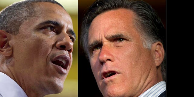 File: President Obama and Mitt Romney
