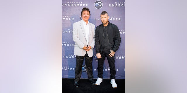James Fitzgerald and Sam Worthington arrive at Discovery's Manhunt: UNABOMBER reception at the Television Critics Association Summer Press Tour at The Beverly Hilton on Wednesday, July 26, 2017 in Beverly Hills, Calif. Worthington plays Fitzgerald in the Discovery scripted series (Colin Young-Wolff/AP Images for Discovery Communications)
