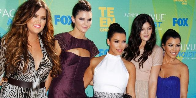 Khloe Kardashian, Kendall Jenner, Kim Kardashian, Kylie Jenner and Kourtney Kardashian at the Teen Choice Awards in Los Angeles August 7, 2011.