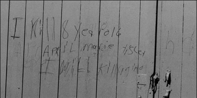 A photo of the note left on a barn two years after April Tinsley was murdered.