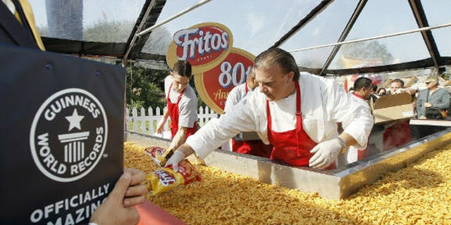 Fritos broke the record for the biggest Fritos Chili Pie weighing in at 1,325 pounds.