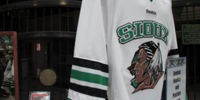 University of North Dakota jersey showing the Fighting Sioux mascot.