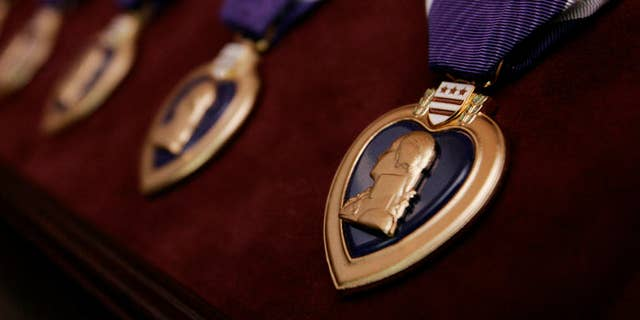Purple Hearts are seen prior to a ceremony in Washington