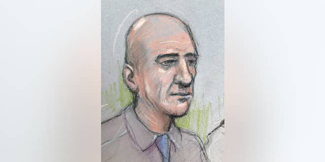 FILE - This Oct. 4, 2016 court sketch by court artist Elizabeth Cook shows Stephen Port appearing at The Old Bailey in London. Port was convicted Wednesday Nov. 23, 2016, of murdering three men he met on gay dating websites. (Elizabeth Cook/PA via AP, File)