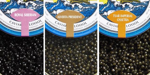Three distinct varieties of caviar.