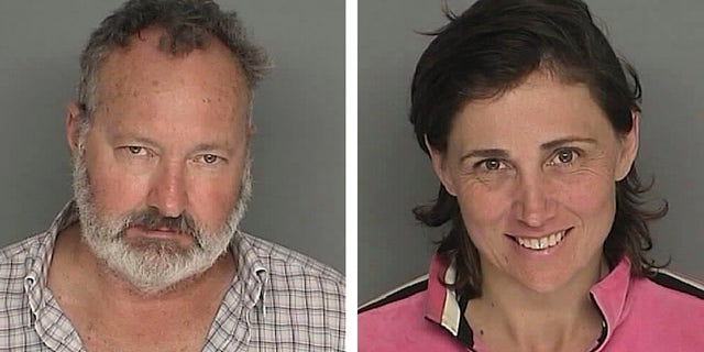 Actor Randy Quaid and his wife Evi in booking photos provided by the Santa Barbara County Sheriff's Office.