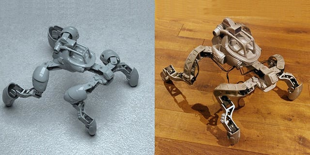 Digital designs for robotic creatures are shown on the left and the physical prototypes produced via 3-D printing are on the right. (Carnegie Mellon University)