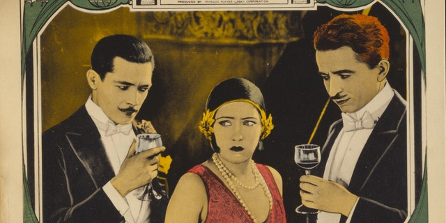 """A lobby card for the 1924 Gloria Swanson pic """"Manhandled,"""" which only exists in a 16mm print and with only five of seven reels surviving."""