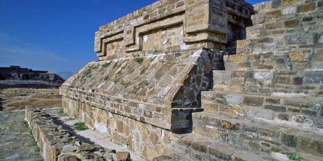The ruins of Monte Alban in Oaxaca, Mexico