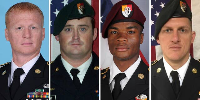 Picture shows the four U.S. soldiers who were killed in an ambush in Niger in October 2017. From left to right: Staff Sgt. Jeremiah Johnson, Staff Sgt. Dustin Wright, Sgt. La David Johnson and Staff Sgt. Bryan Black.