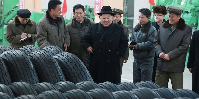 Kim Jong Un thanked workers for building the tires for the vehicle to deliver the launch, according to KCNA.