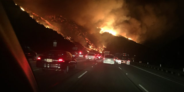 A new fire erupted Wednesday near the famed Getty Center in the Sepulveda Pass in Los Angeles along the 405 Freeway.