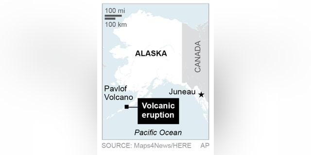 Map locates Pavlof Volcano in Alaska; 1c x 2 1/2 inches; 46.5 mm x 63 mm;