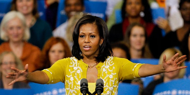 FILE: Oct. 15, 2012: First lady Michelle Obama at a campaign rally at Cuyahoga Community College in Cleveland, Ohio.
