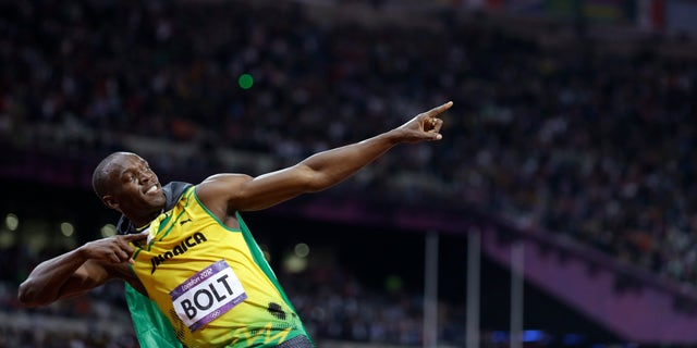 Aug. 5, 2012: Jamaica's Usain Bolt reacts to his win in the men's 100-meter final during the athletics in the Olympic Stadium at the 2012 Summer Olympics, London.