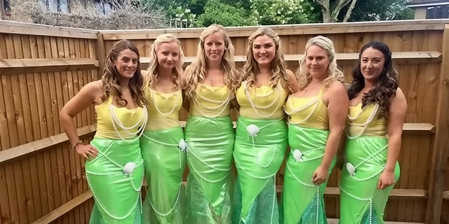 The bridesmaids took a little nautical inspriation for their looks.