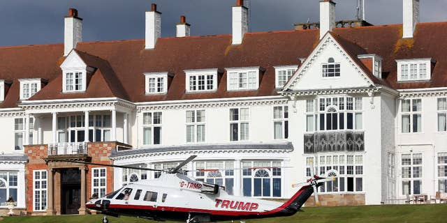 A helicopter owned by Donald Trump departs from the Turnberry golf course in Scotland in July 2015. (AP Photo/Scott Heppell)