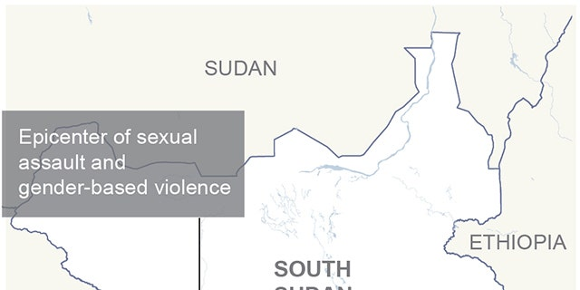 Map locates Mundri, South Sudan, the epicenter of a spike in sexual assaults in the country; 2c x 2 3/4 inches; 96.3 mm x 69 mm;