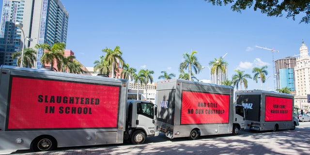 Civic group Avaaz had three movie-inspired mobile billboards in Miami calling for gun reform.