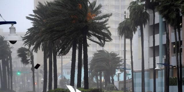 Debris flies through the air as the eye of Hurricane Matthew nears Daytona Beach.