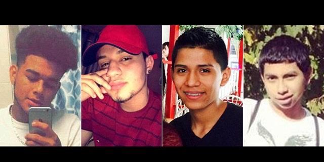 From left, victims Jefferson Villalobos, Michael Lopez Banegas, Jorge Tigre, and Justin Llivicura.