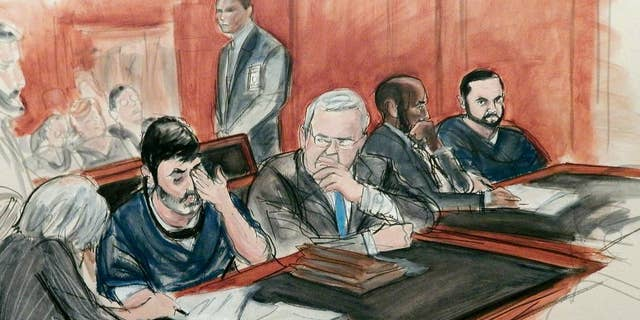 FILE - In this Dec. 17, 2015, courtroom file sketch, Efrain Antonio Campo Flores, seated second from left, has an emotional reaction as he is flanked by his attorneys while appearing with his cousin Franqui Francisco Flores De Freitas, far right, in Manhattan federal court at their arraignment on cocaine-smuggling charges in New York. On Friday, Nov. 18, 2016, the jury returned a guilty verdict against the two men, who are nephews of Venezuela's first lady. Their conviction came after less than a day of deliberations. (AP Photo/Elizabeth Williams, File)