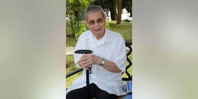 """In this July 2, 2015 photo released by El Diario in Ecuador, Spanish Priest Francisco Cortes Garcia, affectionately known as """"Father Paquito,"""" talks to reporters at the Javier school where he's the director and teaches, in Guayaquil, Ecuador. Paquito will meet with Pope Francis, a friend since the 1980's, during the pope's upcoming visit to Guayquil. (El Diario/Darwin Romero via AP)"""