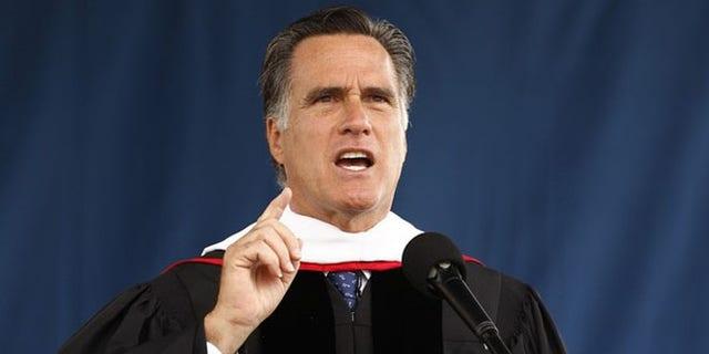 May 12, 2012: Mitt Romney speaks at the Liberty University commencement ceremony in Lynchburg, Va.