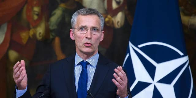 NATO Secretary General Jens Stoltenberg in Rome in 2017. (Agelo Carconi/ANSA via AP}