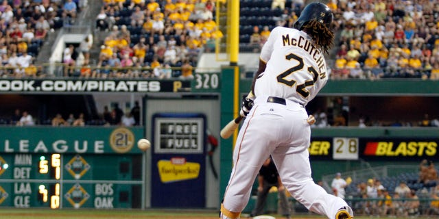 Andrew McCutchen #22 of the Pittsburgh Pirates hits an RBI double in the fifth inning against the Houston Astros during the game on July 2, 2012 at PNC Park in Pittsburgh, Pennsylvania. (Photo by Justin K. Aller/Getty Images)