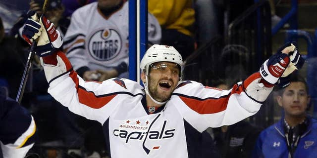 FILE - In this Saturday, April 9, 2016 file photo, Washington Capitals' Alex Ovechkin, of Russia, celebrates after scoring his third goal of an NHL hockey game during the third period against the St. Louis Blues in St. Louis. Expectations have never been higher for Ovechkin and the Capitals, six years after their first Presidents' Trophy and with their window drawing to a close. (AP Photo/Jeff Roberson, File)
