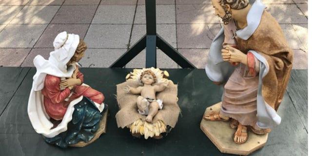 The Nativity scene in Bethlehem's Payrow Plaza. (Bethlehem Police Department)