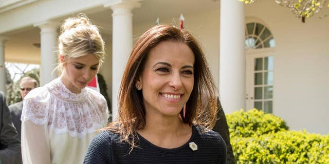 In this photo taken April 5, 2017, White House Senior Counselor for Economic Initiatives Dina Powell, followed by Ivanka Trump, leave news conference in the Rose Garden at the White House in Washington. Powell is on President Trump's shortlist to replace outgoing U.N. Ambassador Nikki Haley.