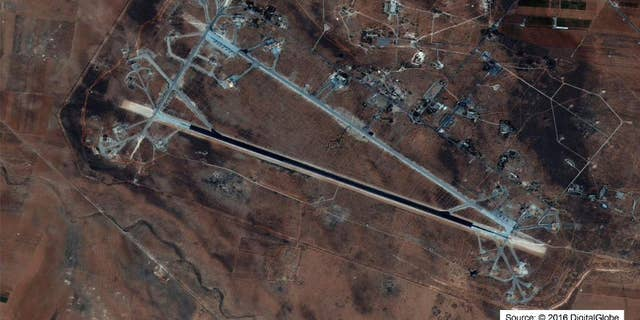"""A satellite image of the Shayrat air base in Syria where the Pentagon is seeing renewed """"activity."""""""