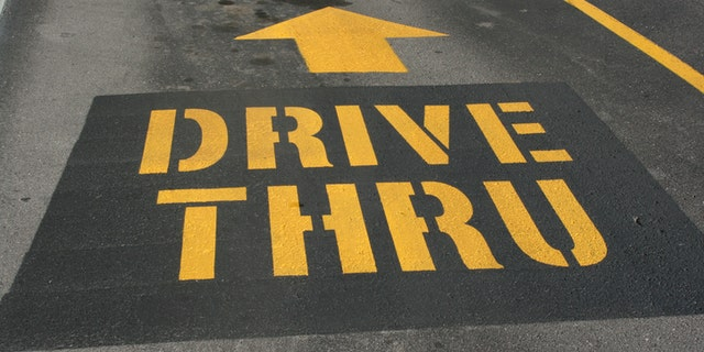 drive thru painted on street for directions