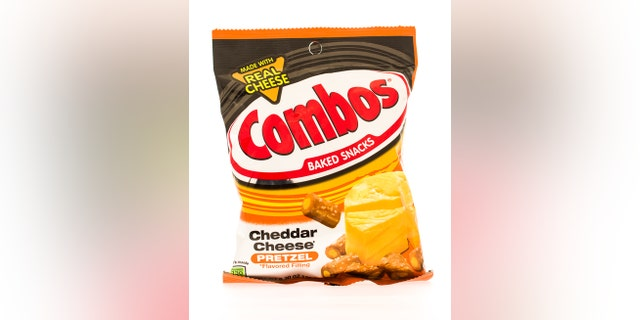 Winneconni, WI, USA  - 18 June 2015: Bag of Combos in cheddar cheese flavor