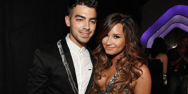 Joe Jonas and Demi Lovato on August 28, 2011, in Los Angeles, California.