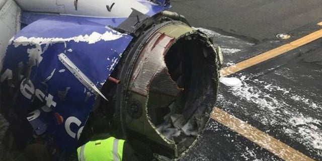Picture of the exploded engine after the plane landed safely.