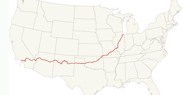 The historic route runs through eight states from Illinois to California.