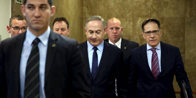 Israeli Prime Minister Benjamin Netanyahu, center, on Sunday.