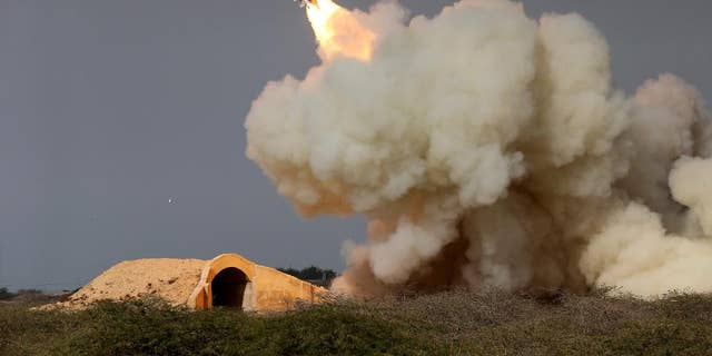 A long-range Iranian missile is test-fired in December 2016.