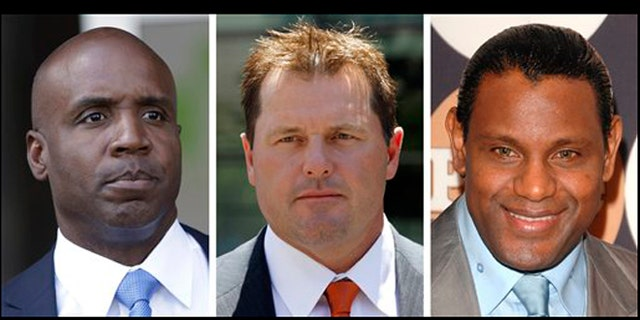 Barry Bonds, left, Roger Clemens and Sammy Sosa are on the ballot for Baseball Hall of Fame voting.