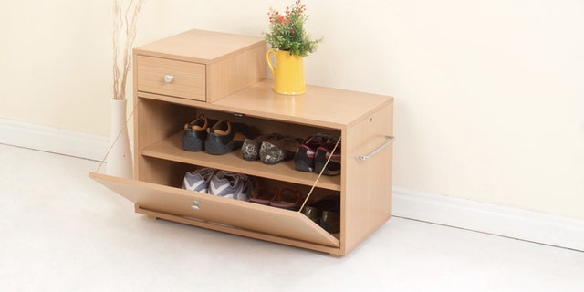 Wooden shoe closet with drawer
